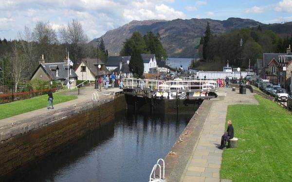 Locks at Fort Augustus where the canal flows into Loch ness
