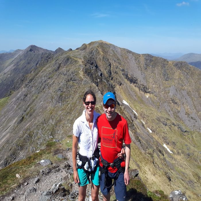 Up on the Aonach Eagach ridge in perfect weather