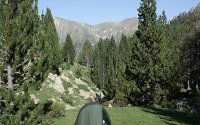 Camp on descent from Coll de Vall Civera