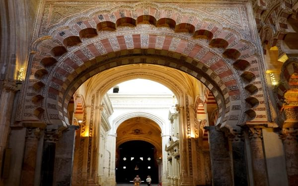 Beautiful Moorish architecture in the Mezquita of Cordoba