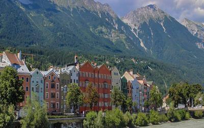 Innsbruck's trademark colourful houses on the north side of the River Inn