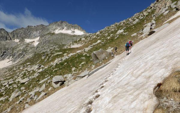 Crossing more snow on the way towards Col de Monestero