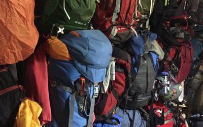 Walkers' rucksacks at Refugio del Estany Llong