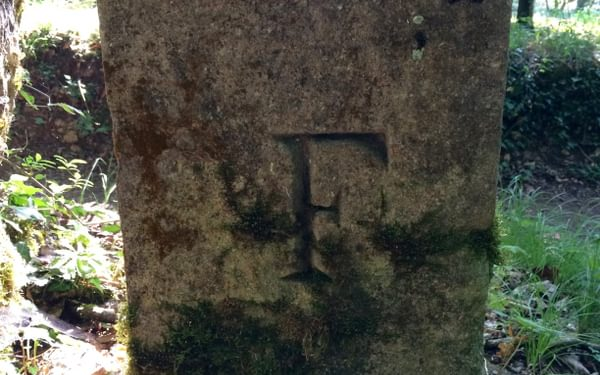 Western side of old border stone (with F for France)