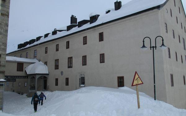 Grand St Bernard Monastery under snow