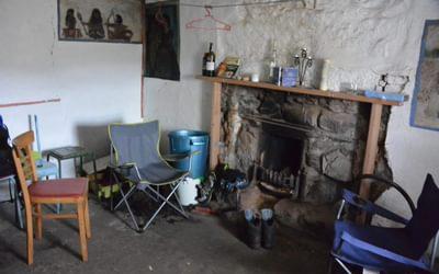 Inside Strathchailleach Sandys bothy Sutherland Scotland