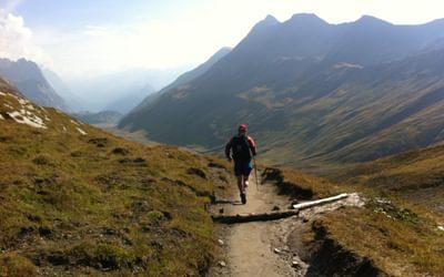 Running the descent from Col de la Seigne Tour du Mont Blanc France