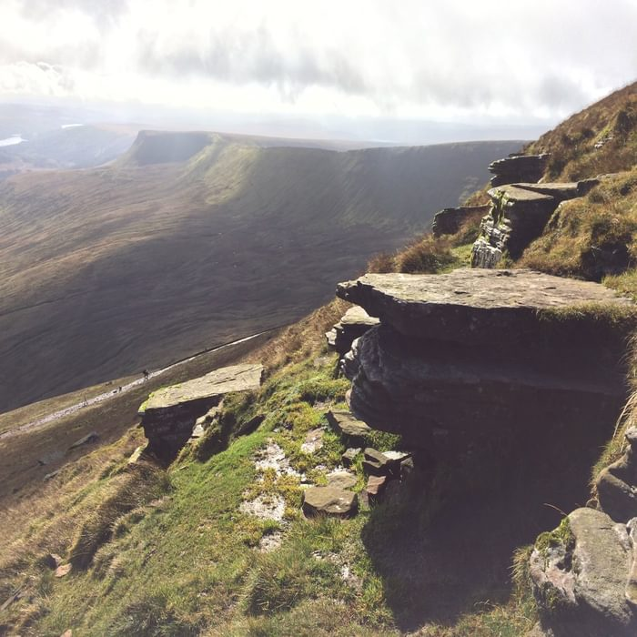 From Pen y Fan, looking towards the dramatic escarpment above Gwaun Taf