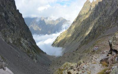 Mountain huts are usually in spectacular locations. (Rifugio Morelli - Buzzi, Italy)
