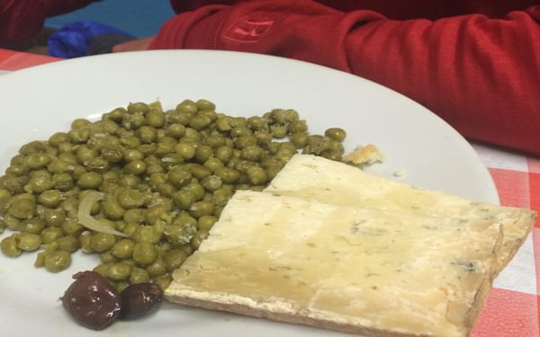As a vegetarian, this was not one of my best mountain hut dinners! (Photo by Chris Councell)
