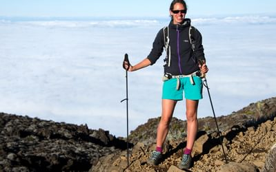 High above the cloud on the ascent of Piton des Neiges