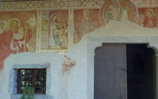 Typical Tirolean religious wall painting on the St Cyrillus Chapel