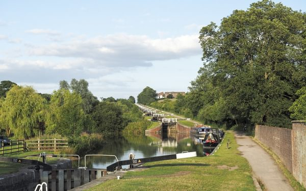 The impressive Caen Hill flight of locks on the Kennet and Avon Canal