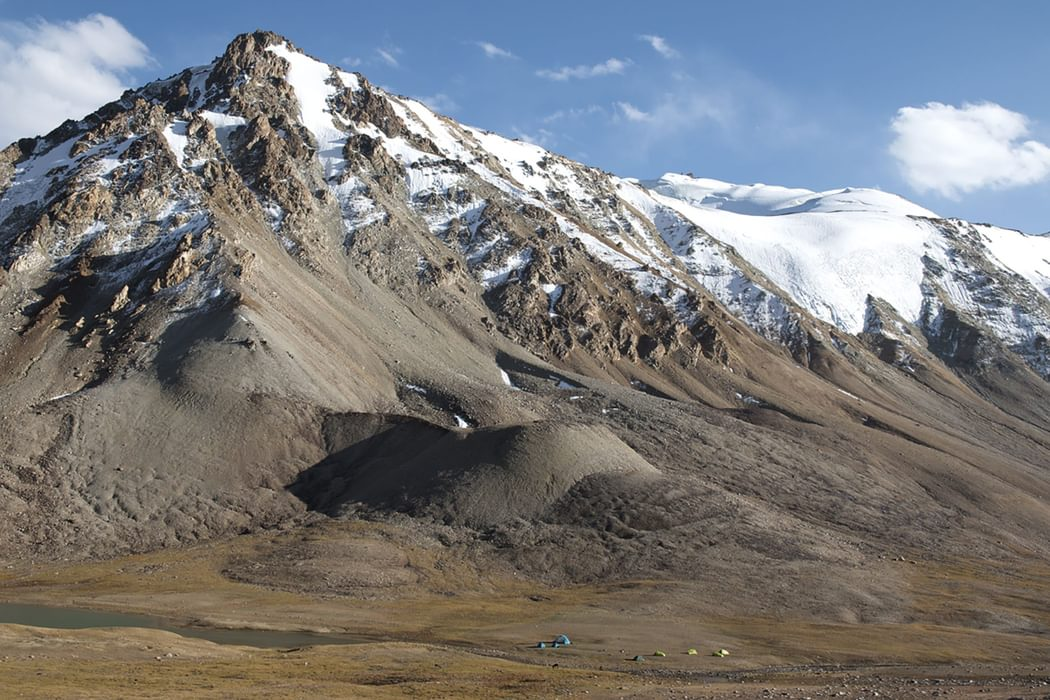 The highest camp of the Pamir mountain lakes trek at Langarkul Lake