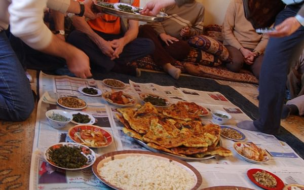A wonderful spread of home cooking at the Guest House of local guide, Eisa Dweekat, north Jordan (on right of the photo).