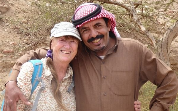 Di Taylor with Sabbah Eid, a climbing and trekking guide, Wadi Rum