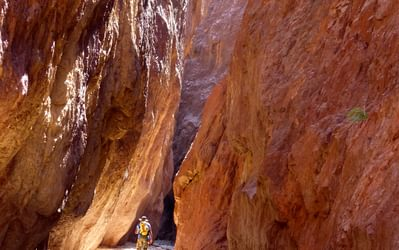 The magnificent Aheimir Canyon on the Jordan Trail between Petra and Wadi Rum.