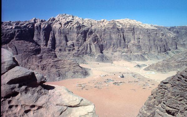 Wadi Rum village with Jebel Rum behind. 1984.