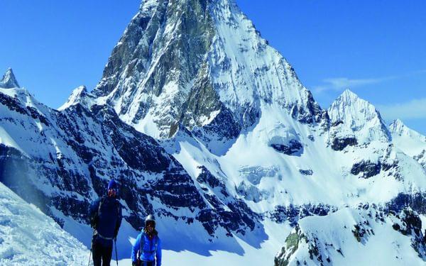 Ben Holt and Sallie O'Connor descend the Unterer Theodulgletscher below the Matterhorn