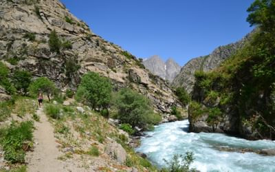 You don't have to travel far from Tajikistan's capital Dushanbe to venture into proper mountain terrain. This is Sioma Valley, just an hour's drive north from the city.  Photo: Christine Oriol