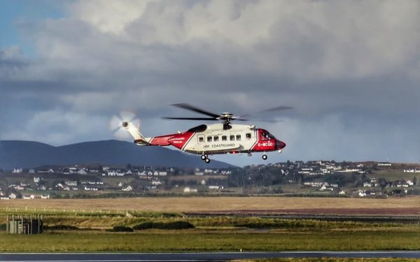 Rescue 948 landing at Stornoway Airport