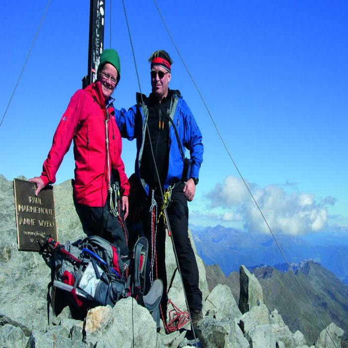 Lesley and Jonathan Williams on the summit of the Wilder Freiger in Austria's Stubai Alps (photo: Joe Williams)