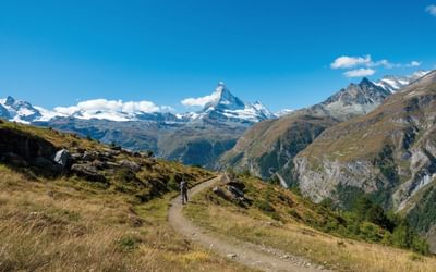 On the final stage on the Europaweb approaching Zermatt, with the Matterhorn above