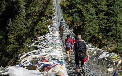 Suspension bridge high above the Dudh Koshi