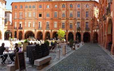 20 The red-bricked Place Nationale in Montauban