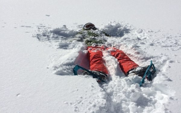 The Dents Blanches provides extensive opportunities for a winter weekend away, including creating snow angels, all within one hour of Geneva airport