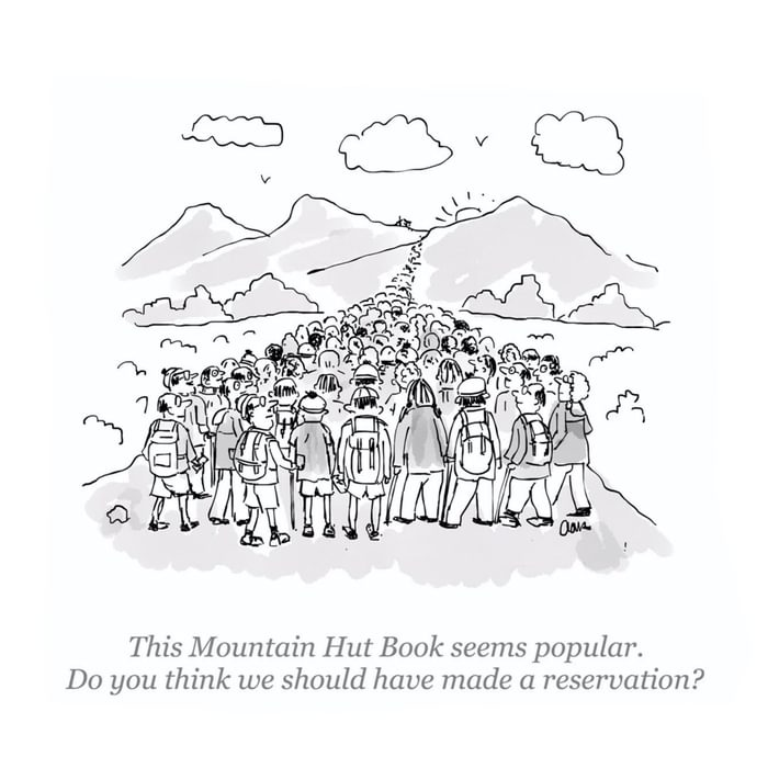 Mountain hut book cartoon