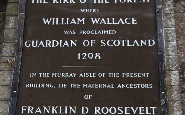 Plaque at the the Kirk o' the Forest graveyard, Selkirk