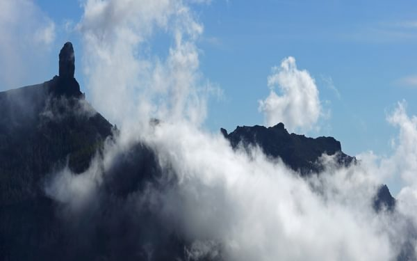 The misty crest of Gran Canaria and the prominent Roque Nublo