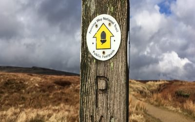 Pennine Way waymark post on Bleaklow, Peak District