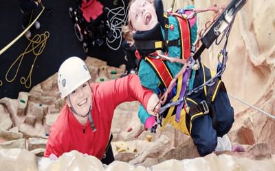 Smiles all round on the climbing session