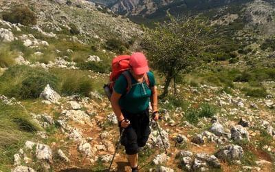 Climbing to the Gran Sendas highest point at 1,400m in the Sierra de San Jorge