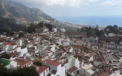 The jumbled roofs of Mijas and the sea beyond