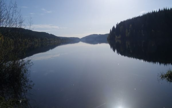 007 Schluchsee, the largest lake in the Black Forest, is a man-made reservoir lake.