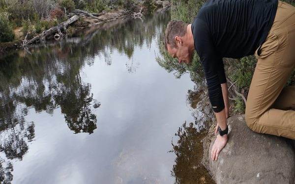 Checking out the reflection in Narcissus River