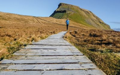 Running on Pen-y-ghent's southern slopes (photo: Alice Ellwood)