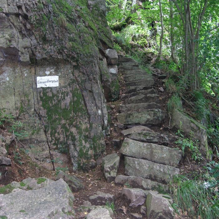 005 The ever changing character of the forest holds many surprises - like these ancient stairs. The sign reads 'hermitage path' - did someone once live there, among the rocks?