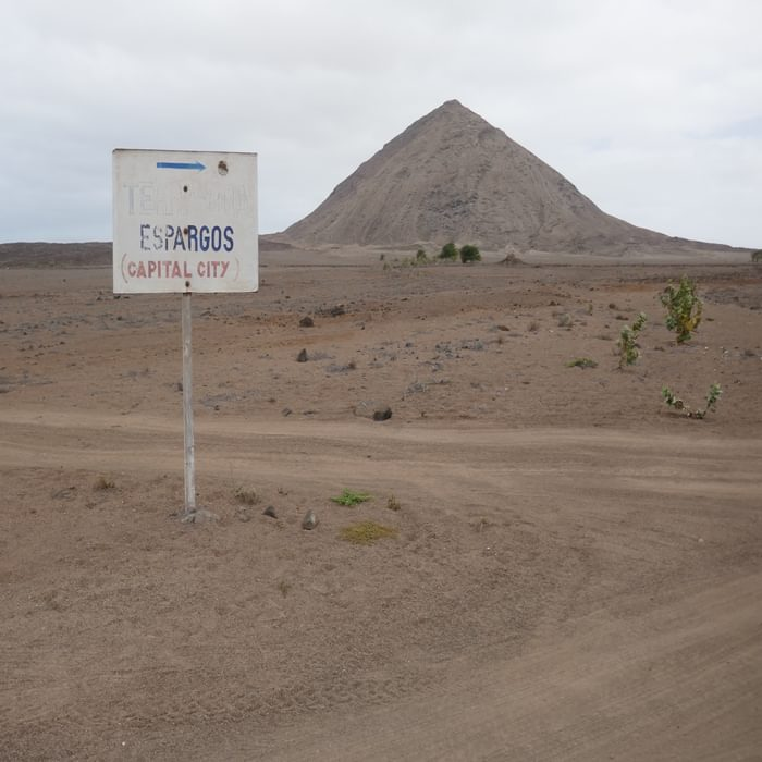 1-01 Sal is a desert island with occasional ancient volcanic cores rising above the sand