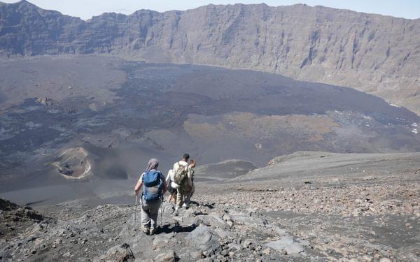 2-06 Descending Pico de Fogo with lava from the 2014 eruption spread across the old caldera