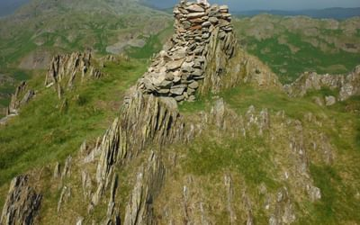 A lofty perch for young alpinists atop Stickle Pike