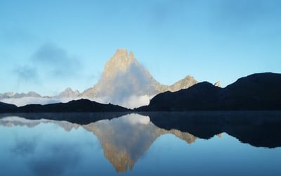 Pic du Midi d'Ossau over Lac Gentau from Refuge d'Ayous