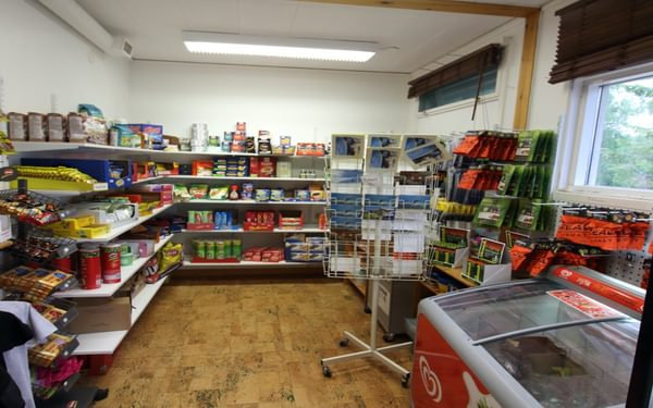 Well stocked butik at Kvikkjokk Fjällstation, the only shop in town!