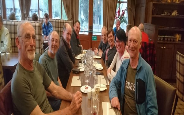 Dine alone on the Challenge? At the Braemar Lodge Hotel, eight Challengers met up by chance (the author is nearest the camera on the right)