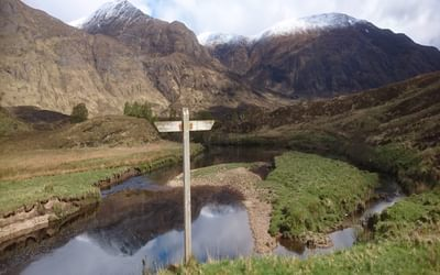 My route used part of the spectacular Affric Kintail Way, here with the ridges rising to Mam Sodhail as backdrop