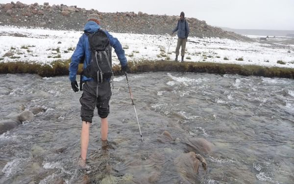 One of the many chilly river crossings
