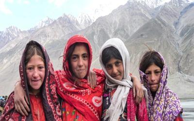Wakhi school girls on their way to school, a 5km walk